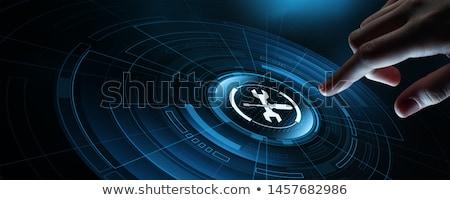 技術 · サービス · コンピュータのキーボード · 空っぽ · カスタマイズ可能な · 青 - ストックフォト © make