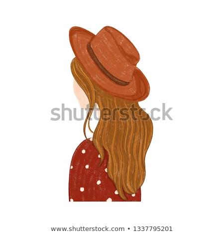 Сток-фото: женщину · ковбойской · шляпе · изолированный · белый · счастливым