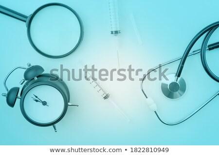 Diabetic test kit and stethoscope on white background Stock photo © simpson33