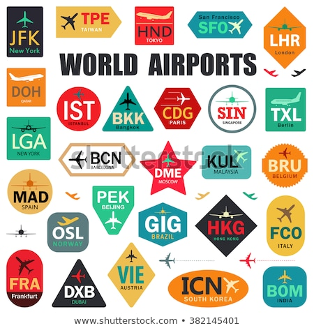 Stock photo: Vector graphic colored icon sticker set of traveling and airport