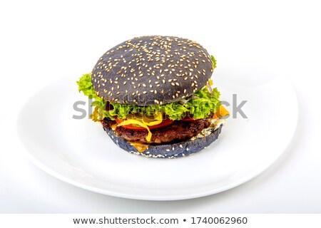 Fresco hambúrguer carne legumes frescos quente Foto stock © mcherevan