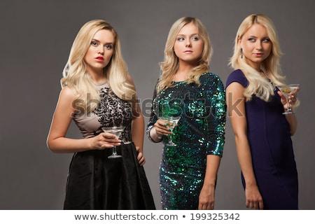 elegante · jonge · vrouw · drinken · cocktail · witte · studio - stockfoto © ambro
