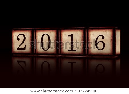 New Year 2016 In 3d Wooden Cubes Over Black Background Stockfoto © marinini