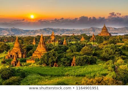 Pagoda paisaje anochecer caliente puesta de sol Myanmar Foto stock © smithore