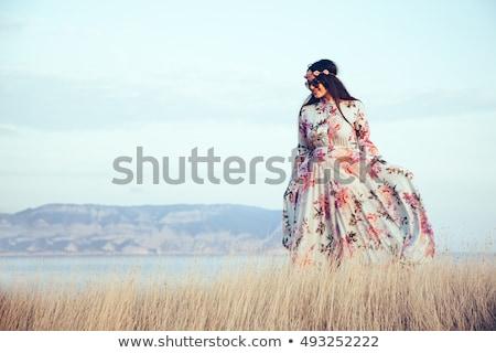 Plus size modell ruha gyönyörű fiatal nő smink Stock fotó © svetography