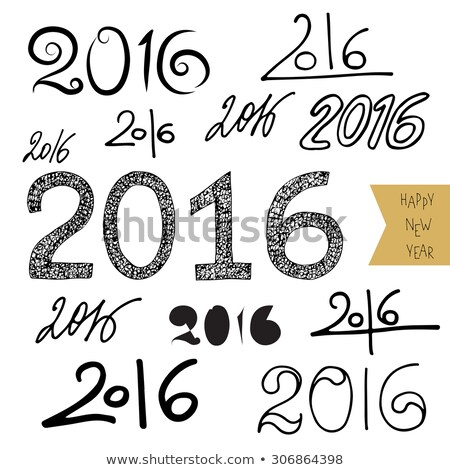 New Year 2016 - Calligraphy of numbers for new year - hand drawn lettering on white for poster. Stock photo © arzawen