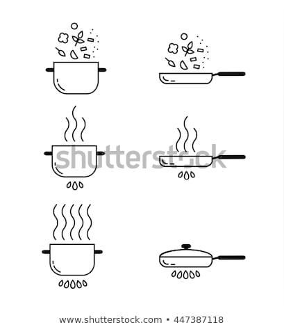 Serpenyő borító vonal ikon háló mobil Stock fotó © RAStudio
