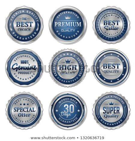 genuine guaranteed blue seal vector icon stock photo © rizwanali3d