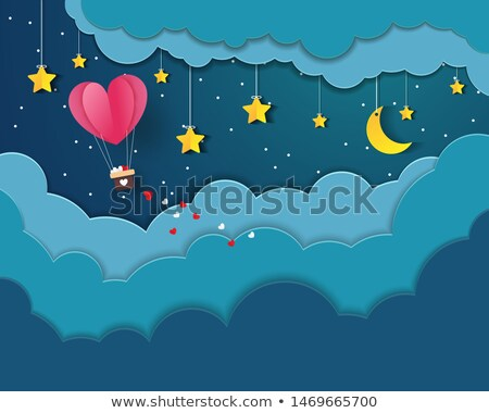 heart shaped hot air balloons eps 10 stock photo © beholdereye