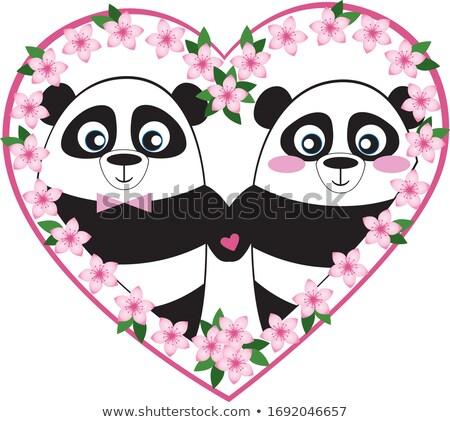 Panda illusztráció esküvő erdő pár házasság Stock fotó © adrenalina