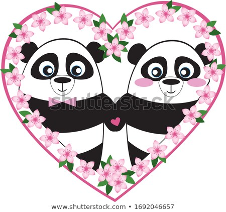 Panda ilustracja ślub lasu para małżeństwa Zdjęcia stock © adrenalina
