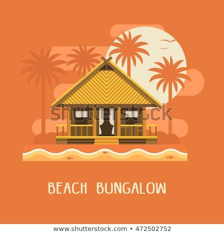 Casa de playa techo palmeras verano puesta de sol arquitectura Foto stock © cienpies