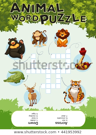 game template for word puzzle animals stock photo © bluering
