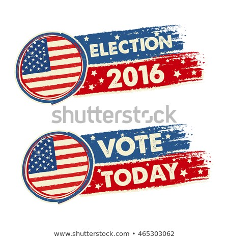 Usa Election 2016 And Vote Today With American Flag Banners Stockfoto © marinini