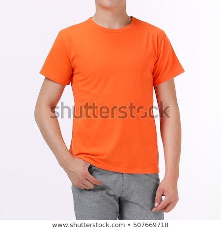 Casual adult male wearing blank white t-shirt from behind Stock photo © stevanovicigor