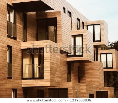 Fából készült ház illusztráció fehér épület modell Stock fotó © bluering