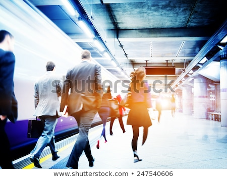 Pessoas estação de trem ilustração paisagem fundo arte Foto stock © bluering