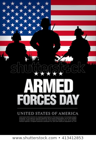 black and white silhouettes of armed forces. Stock photo © Margolana