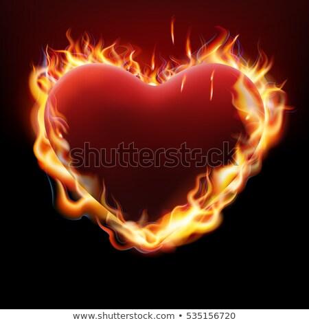 tüzes · szív · szárnyak · sötét · háttér · piros - stock fotó © beholdereye