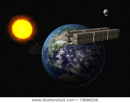 vuilnis · schip · zon · aarde · wereldbol · zonsondergang - stockfoto © sebikus