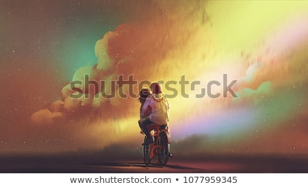 Woman with a bicycle. Digital art Stock photo © amok