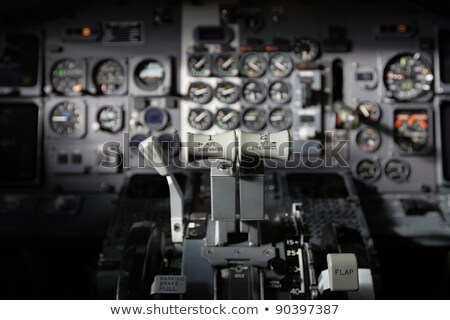 Center console and throttles in airplane Stock photo © michaklootwijk