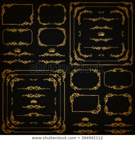 Stock photo: Golden decorative calligraphic ornaments, corners, borders and frames for page decoration and design