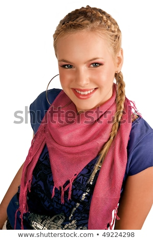 Beauty teen makeup and hairstyle. teenage girl with hair tail an Stock photo © Victoria_Andreas