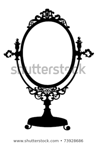 Silueta antiguos maquillaje espejo retro oval Foto stock © ElaK