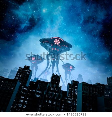 Vreemdeling invasie 3d illustration fotografie zonsondergang ruimte Stockfoto © idesign