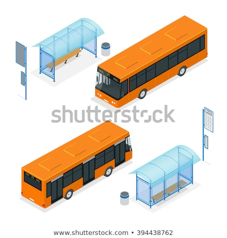 vector 3d isometric illustration of bus stop stock photo © curiosity
