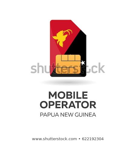 Papua new Guinea mobile operator. SIM card with flag. Vector illustration. Stock photo © Leo_Edition