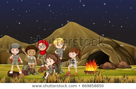 Children in safari costume camping out by the cave Stock photo © bluering