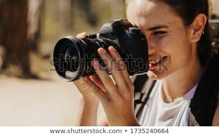 Disparo paisaje pinup turísticos nina Foto stock © Fisher