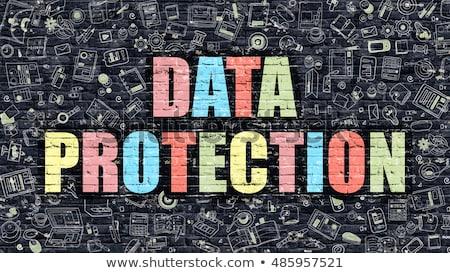 veri · güvenliği · beyaz · tuğla · duvar · karalama · simgeler · etrafında - stok fotoğraf © tashatuvango