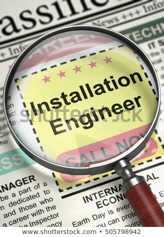 Stockfoto: Installatie · ingenieur · gezocht · 3d · render · krant · baan
