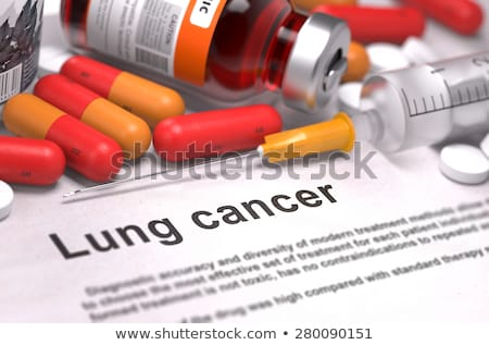 Emphysema - Printed Diagnosis on Red Background. Stock photo © tashatuvango