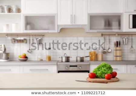 blurred view of kitchen interior stock photo © artjazz