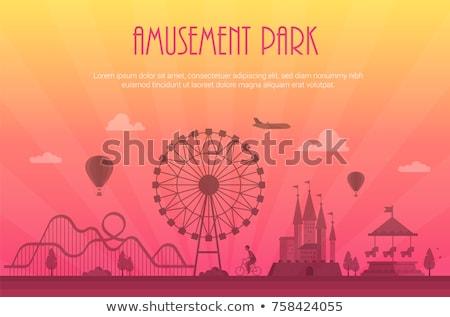 Parco di divertimenti moderno luogo testo panorama silhouette Foto d'archivio © Decorwithme