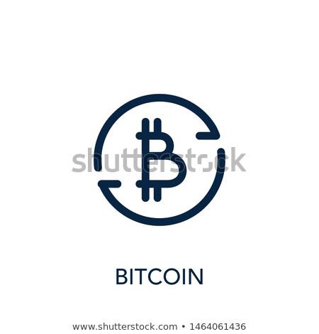 Signe bitcoin police lettre web argent Photo stock © popaukropa
