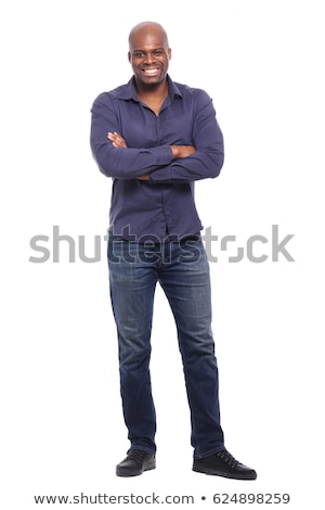 Handsome young african man standing isolated Stock photo © deandrobot