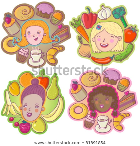 woman and children eating applecake stock photo © is2