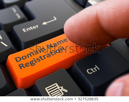 Hand Finger Press Domain Name Registration Button. Stock photo © tashatuvango