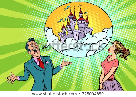 Confident businessman offers a woman fabulous castle in the sky Stock photo © rogistok