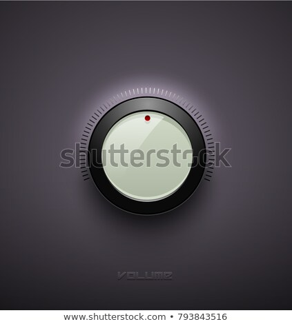 technology music white glossy button icon volume settings sound control knob with black plastic stock photo © iaroslava