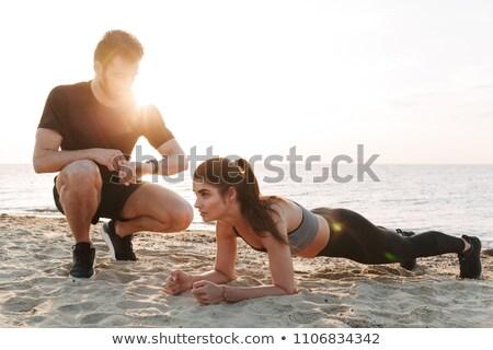 брюшной закат иллюстрация девушки спорт силуэта Сток-фото © adrenalina