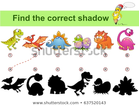 Cute cartoon dinosaur shadow matching game Stock photo © adrian_n