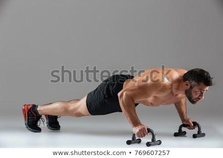 Portret muskularny silne półnagi mężczyzna kulturysta Zdjęcia stock © deandrobot