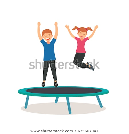 Two boys jumping on trampoline Stock photo © IS2