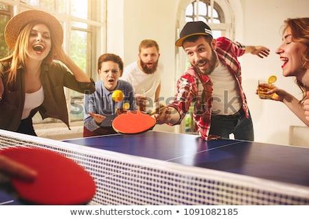 Donna giocare tennis da tavolo muro bellezza successo Foto d'archivio © IS2